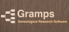 Gramps genealogy program.